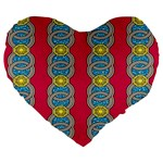 African Fabric Iron Chains Red Yellow Blue Grey Large 19  Premium Heart Shape Cushions Front
