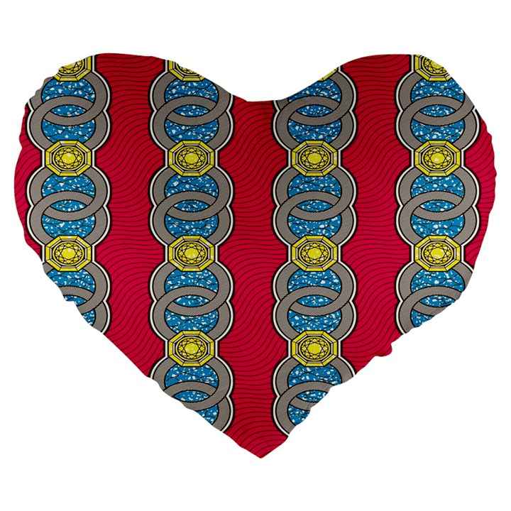 African Fabric Iron Chains Red Yellow Blue Grey Large 19  Premium Heart Shape Cushions