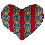 African Fabric Iron Chains Red Yellow Blue Grey Large 19  Premium Heart Shape Cushions Back