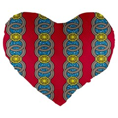 African Fabric Iron Chains Red Yellow Blue Grey Large 19  Premium Flano Heart Shape Cushions by Alisyart