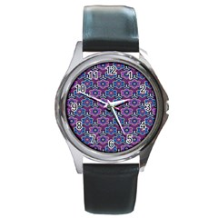 African Fabric Flower Purple Round Metal Watch by Alisyart