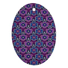 African Fabric Flower Purple Ornament (oval)