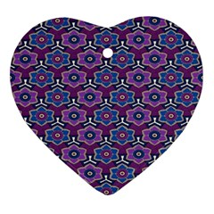 African Fabric Flower Purple Ornament (heart) by Alisyart