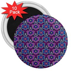 African Fabric Flower Purple 3  Magnets (10 Pack)
