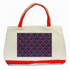 African Fabric Flower Purple Classic Tote Bag (red) by Alisyart