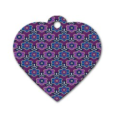 African Fabric Flower Purple Dog Tag Heart (two Sides) by Alisyart