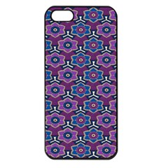African Fabric Flower Purple Apple Iphone 5 Seamless Case (black)