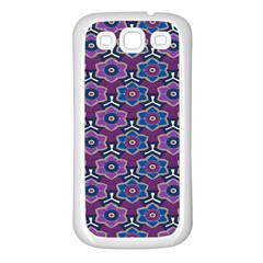 African Fabric Flower Purple Samsung Galaxy S3 Back Case (white)