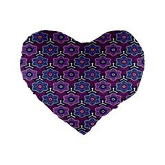 African Fabric Flower Purple Standard 16  Premium Flano Heart Shape Cushions by Alisyart