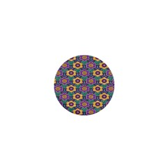 African Fabric Flower Green Purple 1  Mini Buttons
