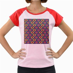 African Fabric Flower Green Purple Women s Cap Sleeve T Shirt