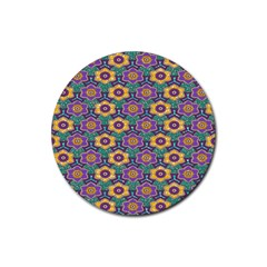 African Fabric Flower Green Purple Rubber Round Coaster (4 Pack)