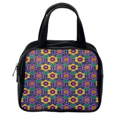 African Fabric Flower Green Purple Classic Handbags (one Side)
