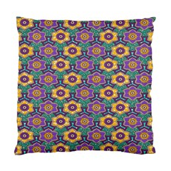 African Fabric Flower Green Purple Standard Cushion Case (one Side)
