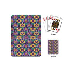 African Fabric Flower Green Purple Playing Cards (mini)  by Alisyart