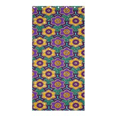 African Fabric Flower Green Purple Shower Curtain 36  X 72  (stall)  by Alisyart