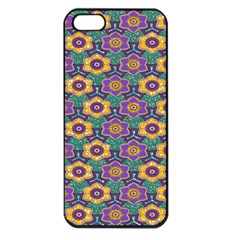 African Fabric Flower Green Purple Apple Iphone 5 Seamless Case (black)