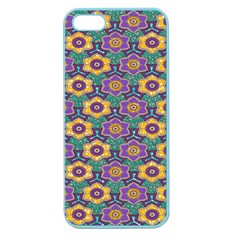 African Fabric Flower Green Purple Apple Seamless Iphone 5 Case (color)