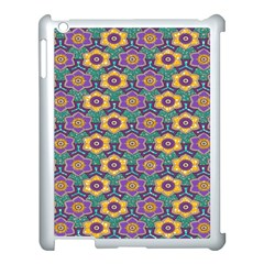African Fabric Flower Green Purple Apple Ipad 3/4 Case (white)