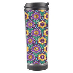 African Fabric Flower Green Purple Travel Tumbler