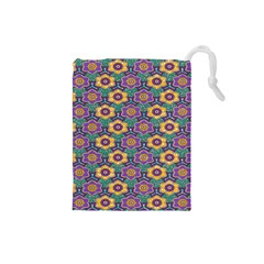 African Fabric Flower Green Purple Drawstring Pouches (small)