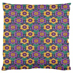 African Fabric Flower Green Purple Large Flano Cushion Case (two Sides)