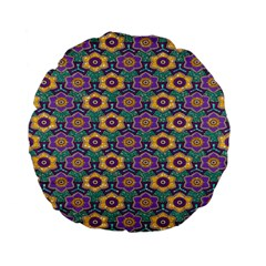 African Fabric Flower Green Purple Standard 15  Premium Flano Round Cushions by Alisyart
