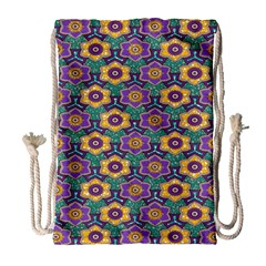 African Fabric Flower Green Purple Drawstring Bag (large)