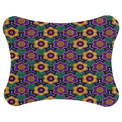 African Fabric Flower Green Purple Jigsaw Puzzle Photo Stand (bow)