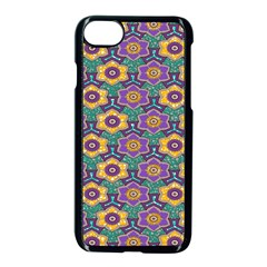 African Fabric Flower Green Purple Apple Iphone 7 Seamless Case (black) by Alisyart
