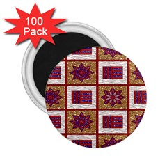 African Fabric Star Plaid Gold Blue Red 2 25  Magnets (100 Pack)
