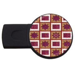 African Fabric Star Plaid Gold Blue Red Usb Flash Drive Round (2 Gb)