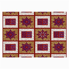 African Fabric Star Plaid Gold Blue Red Large Glasses Cloth (2 Side) by Alisyart