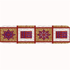 African Fabric Star Plaid Gold Blue Red Large Bar Mats by Alisyart