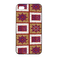 African Fabric Star Plaid Gold Blue Red Apple Iphone 4/4s Seamless Case (black) by Alisyart
