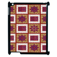 African Fabric Star Plaid Gold Blue Red Apple Ipad 2 Case (black)