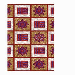 African Fabric Star Plaid Gold Blue Red Small Garden Flag (two Sides)