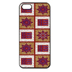 African Fabric Star Plaid Gold Blue Red Apple Iphone 5 Seamless Case (black)