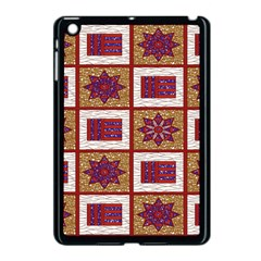 African Fabric Star Plaid Gold Blue Red Apple Ipad Mini Case (black) by Alisyart