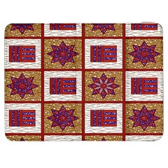 African Fabric Star Plaid Gold Blue Red Samsung Galaxy Tab 7  P1000 Flip Case