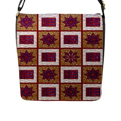 African Fabric Star Plaid Gold Blue Red Flap Messenger Bag (l)