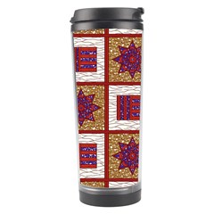 African Fabric Star Plaid Gold Blue Red Travel Tumbler