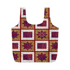 African Fabric Star Plaid Gold Blue Red Full Print Recycle Bags (m)  by Alisyart