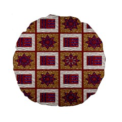 African Fabric Star Plaid Gold Blue Red Standard 15  Premium Flano Round Cushions