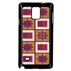 African Fabric Star Plaid Gold Blue Red Samsung Galaxy Note 4 Case (black)