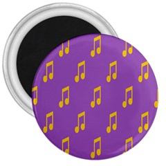 Eighth Note Music Tone Yellow Purple 3  Magnets
