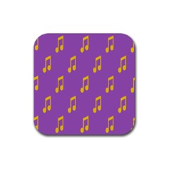 Eighth Note Music Tone Yellow Purple Rubber Coaster (square)
