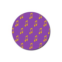 Eighth Note Music Tone Yellow Purple Rubber Round Coaster (4 Pack)  by Alisyart