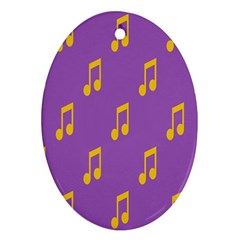 Eighth Note Music Tone Yellow Purple Oval Ornament (two Sides)