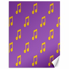 Eighth Note Music Tone Yellow Purple Canvas 18  X 24   by Alisyart